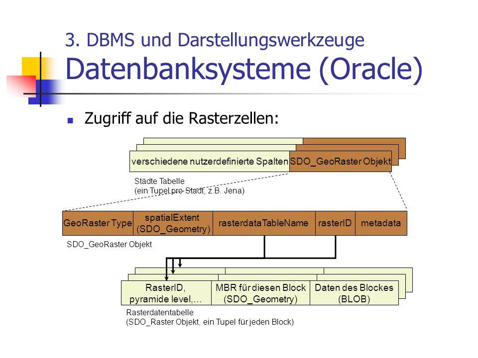 3. DBMS und Darstellungswerkzeuge Datenbanksysteme (Oracle) Zugriff auf die Rasterzellen: verschiedene nutzerdefinierte SpaltenSDO_GeoRaster Objekt Ge