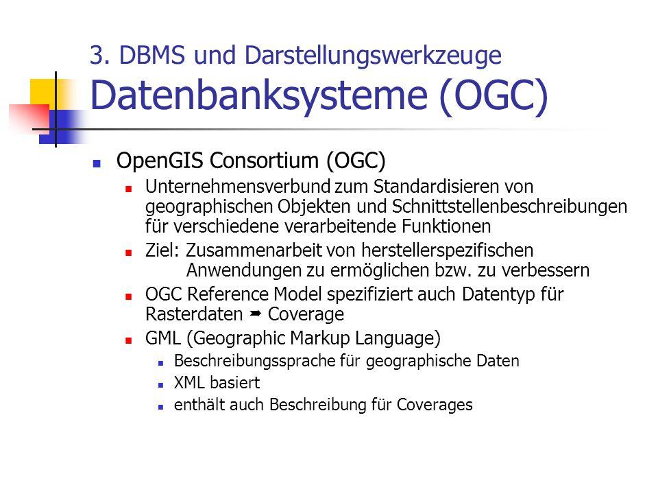 3. DBMS und Darstellungswerkzeuge Datenbanksysteme (OGC) OpenGIS Consortium (OGC) Unternehmensverbund zum Standardisieren von geographischen Objekten
