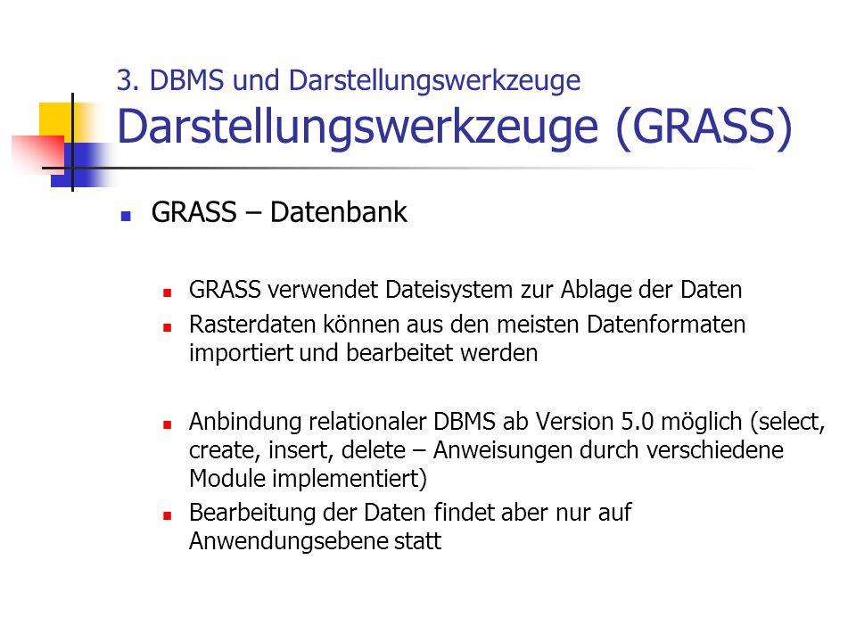 3. DBMS und Darstellungswerkzeuge Darstellungswerkzeuge (GRASS) GRASS – Datenbank GRASS verwendet Dateisystem zur Ablage der Daten Rasterdaten können