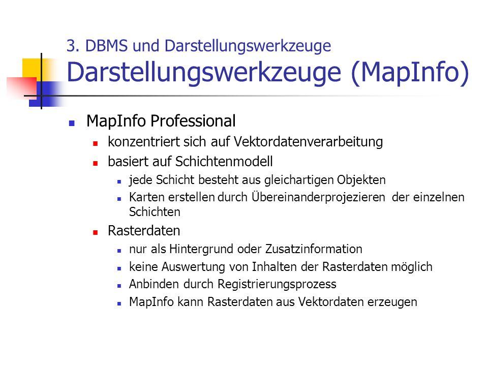 3. DBMS und Darstellungswerkzeuge Darstellungswerkzeuge (MapInfo) MapInfo Professional konzentriert sich auf Vektordatenverarbeitung basiert auf Schic