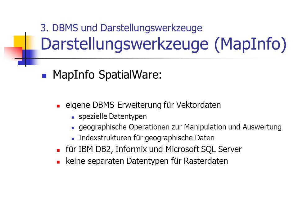 3. DBMS und Darstellungswerkzeuge Darstellungswerkzeuge (MapInfo) MapInfo SpatialWare: eigene DBMS-Erweiterung für Vektordaten spezielle Datentypen ge