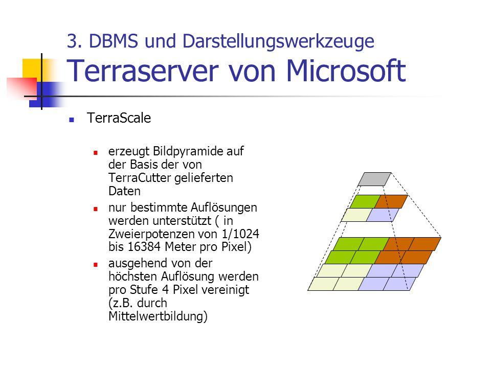 3. DBMS und Darstellungswerkzeuge Terraserver von Microsoft TerraScale erzeugt Bildpyramide auf der Basis der von TerraCutter gelieferten Daten nur be