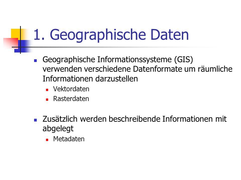 1. Geographische Daten Geographische Informationssysteme (GIS) verwenden verschiedene Datenformate um räumliche Informationen darzustellen Vektordaten