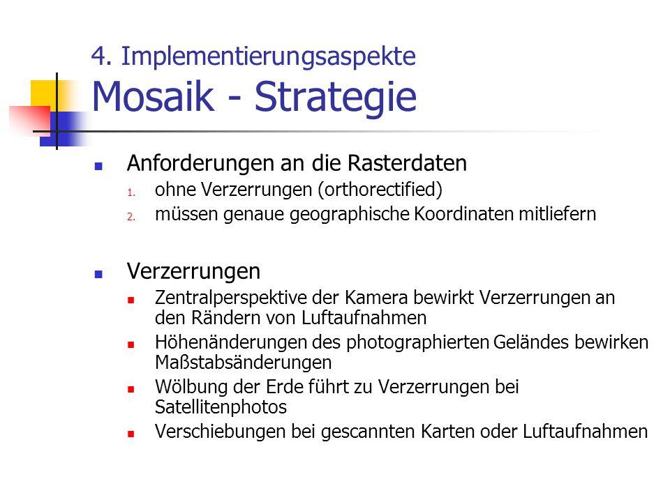 4.Implementierungsaspekte Mosaik - Strategie Anforderungen an die Rasterdaten 1.