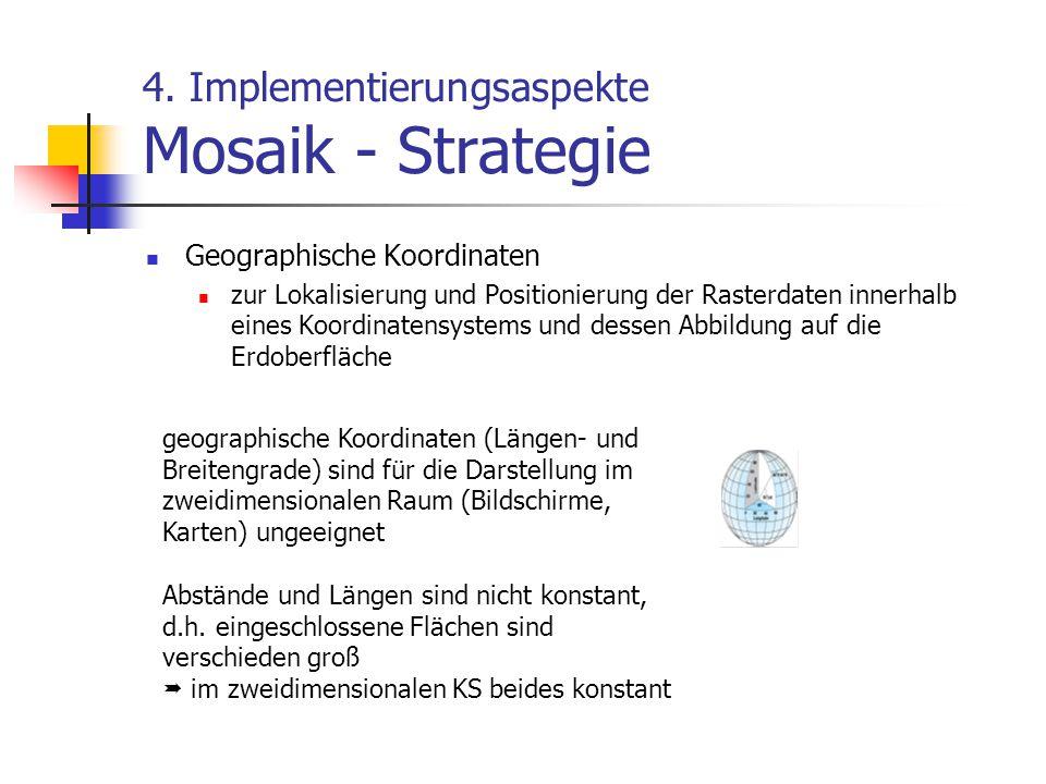 4. Implementierungsaspekte Mosaik - Strategie Geographische Koordinaten zur Lokalisierung und Positionierung der Rasterdaten innerhalb eines Koordinat