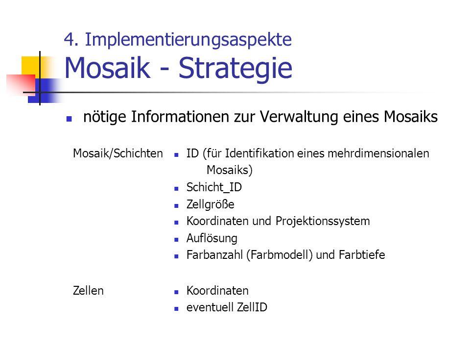 4. Implementierungsaspekte Mosaik - Strategie nötige Informationen zur Verwaltung eines Mosaiks Mosaik/Schichten ID (für Identifikation eines mehrdime