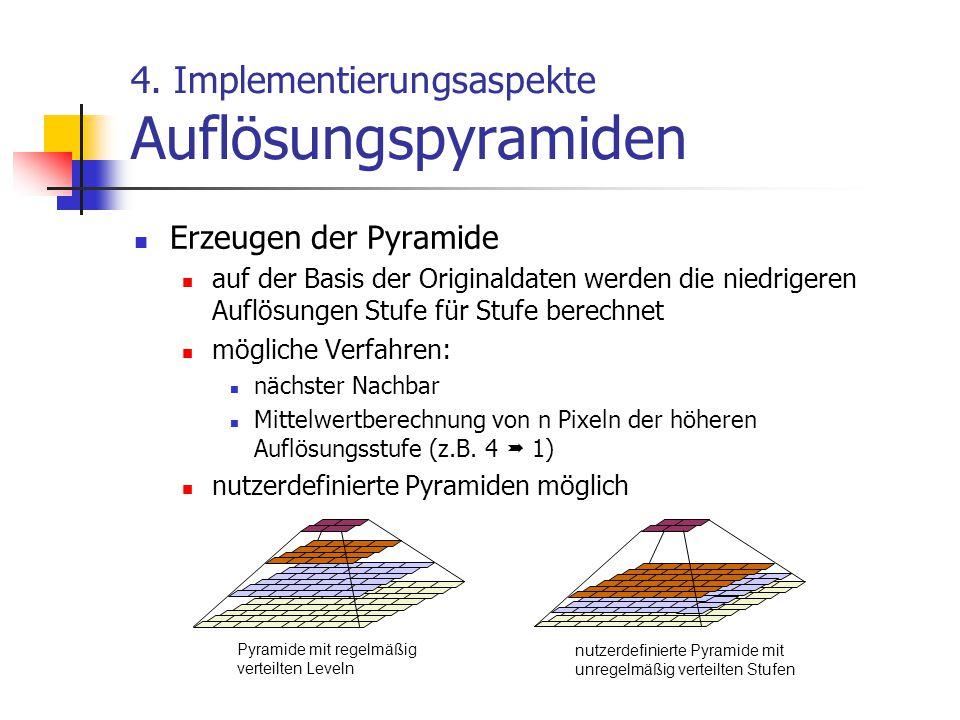 4. Implementierungsaspekte Auflösungspyramiden Erzeugen der Pyramide auf der Basis der Originaldaten werden die niedrigeren Auflösungen Stufe für Stuf