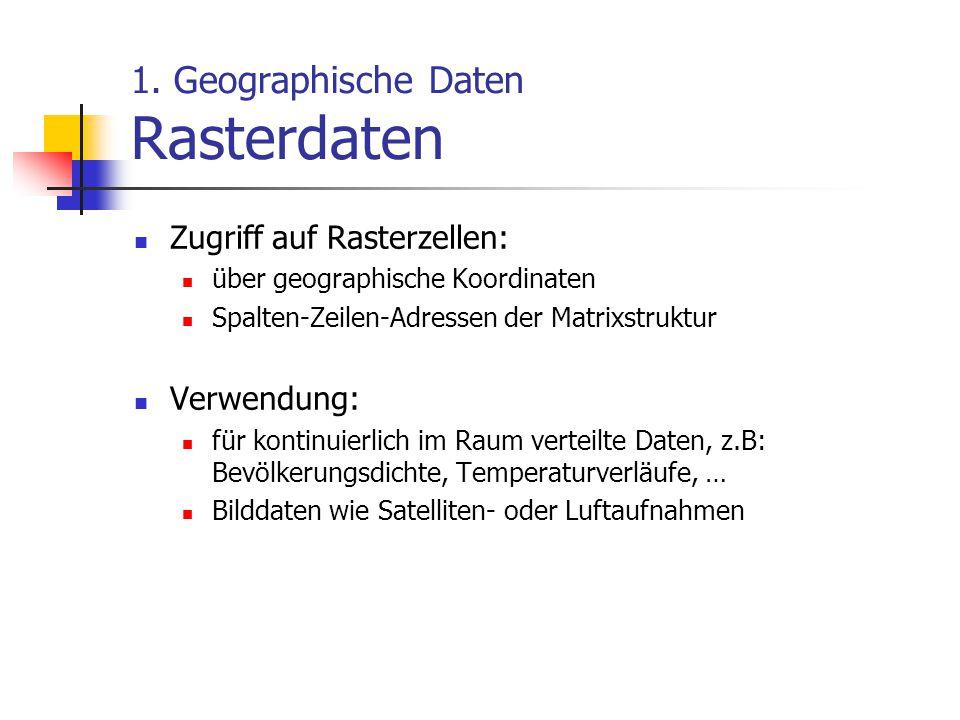 1. Geographische Daten Rasterdaten Zugriff auf Rasterzellen: über geographische Koordinaten Spalten-Zeilen-Adressen der Matrixstruktur Verwendung: für