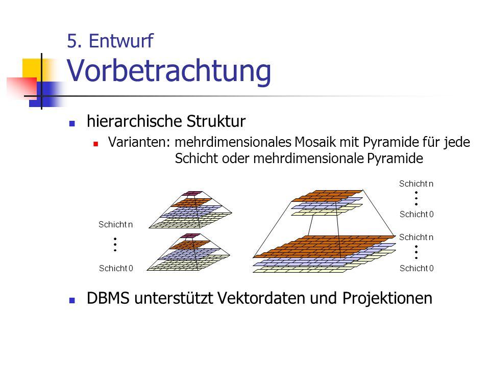 5. Entwurf Vorbetrachtung hierarchische Struktur Varianten: mehrdimensionales Mosaik mit Pyramide für jede Schicht oder mehrdimensionale Pyramide DBMS