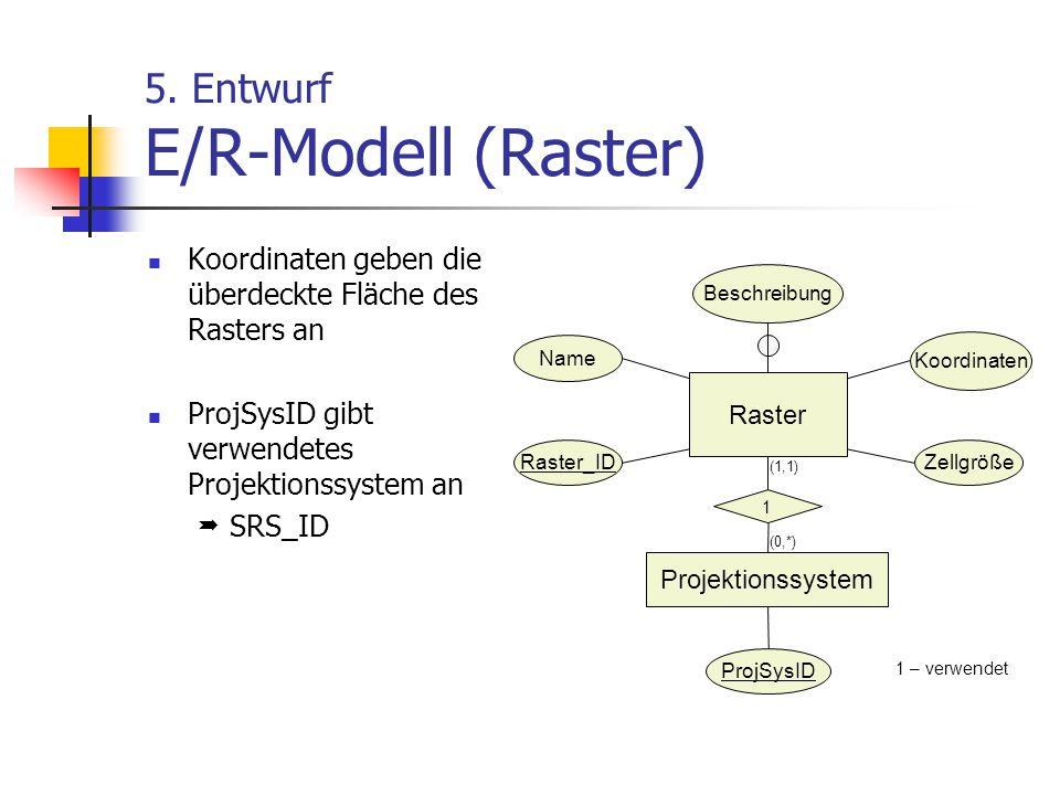 5. Entwurf E/R-Modell (Raster) Koordinaten geben die überdeckte Fläche des Rasters an ProjSysID gibt verwendetes Projektionssystem an  SRS_ID Raster_