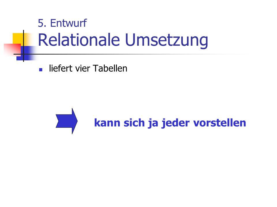 5. Entwurf Relationale Umsetzung liefert vier Tabellen kann sich ja jeder vorstellen