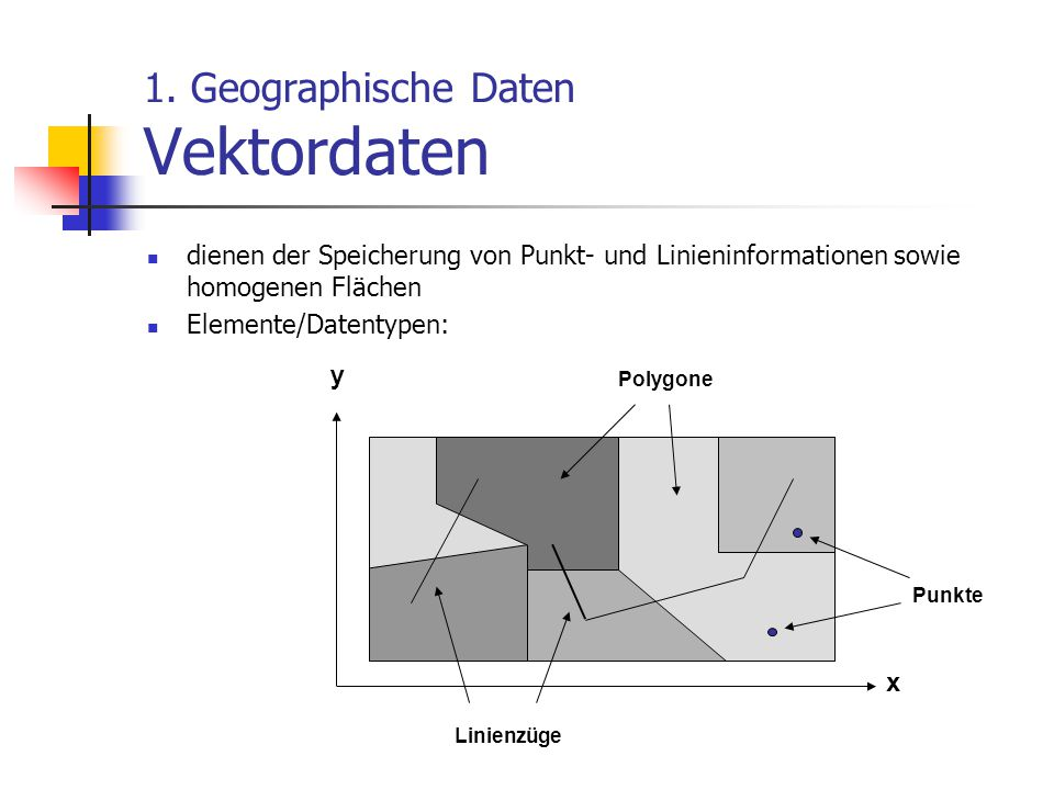 1. Geographische Daten Vektordaten dienen der Speicherung von Punkt- und Linieninformationen sowie homogenen Flächen Elemente/Datentypen: y x Polygone