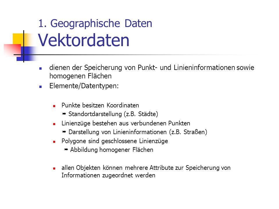 1. Geographische Daten Vektordaten dienen der Speicherung von Punkt- und Linieninformationen sowie homogenen Flächen Elemente/Datentypen: Punkte besit