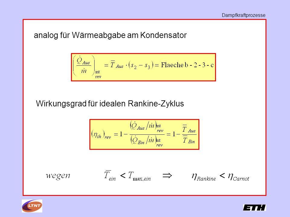 Dampfkraftprozesse analog für Wärmeabgabe am Kondensator Wirkungsgrad für idealen Rankine-Zyklus