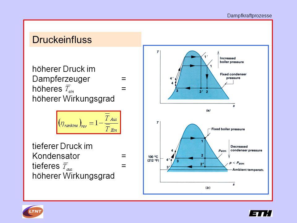 Dampfkraftprozesse Druckeinfluss höherer Druck im Dampferzeuger = höheres = höherer Wirkungsgrad tieferer Druck im Kondensator= tieferes = höherer Wirkungsgrad