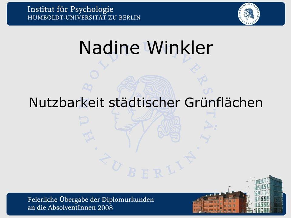 Nadine Winkler Nutzbarkeit städtischer Grünflächen