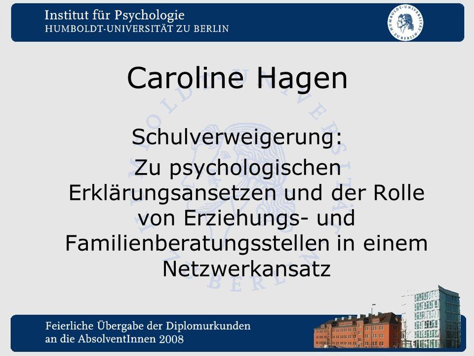 Caroline Hagen Schulverweigerung: Zu psychologischen Erklärungsansetzen und der Rolle von Erziehungs- und Familienberatungsstellen in einem Netzwerkan