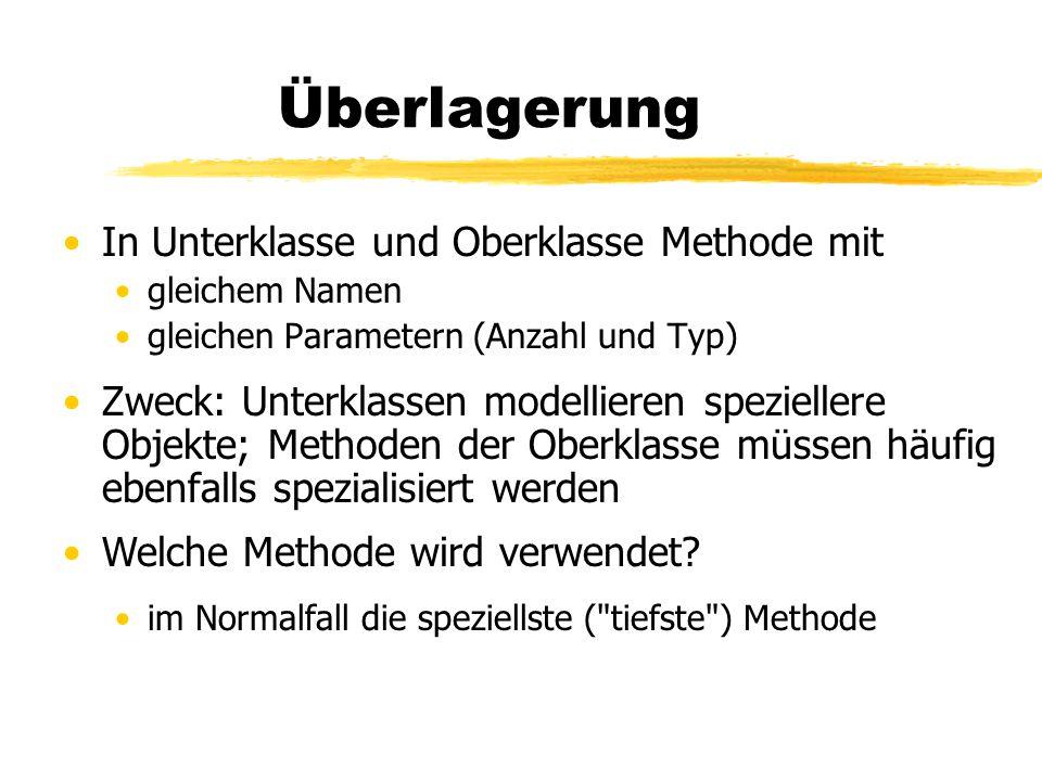 Überlagerung In Unterklasse und Oberklasse Methode mit gleichem Namen gleichen Parametern (Anzahl und Typ) Zweck: Unterklassen modellieren speziellere Objekte; Methoden der Oberklasse müssen häufig ebenfalls spezialisiert werden Welche Methode wird verwendet.