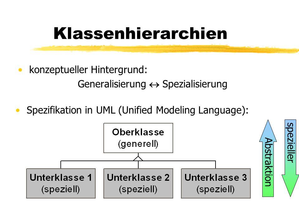 Klassenhierarchien konzeptueller Hintergrund: Generalisierung  Spezialisierung Spezifikation in UML (Unified Modeling Language): Abstraktion spezieller