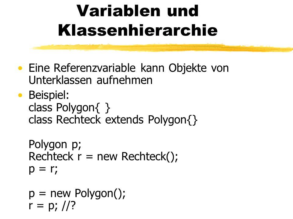 Variablen und Klassenhierarchie Eine Referenzvariable kann Objekte von Unterklassen aufnehmen Beispiel: class Polygon{ } class Rechteck extends Polygon{} Polygon p; Rechteck r = new Rechteck(); p = r; p = new Polygon(); r = p; //?