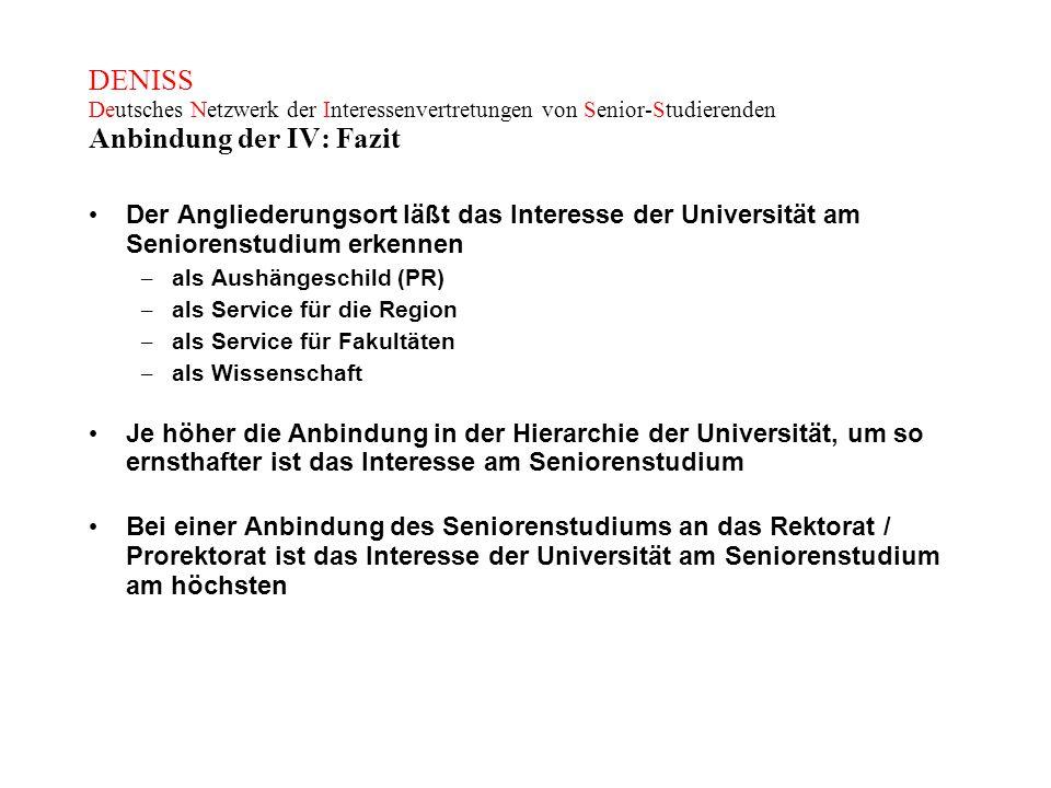 DENISS Deutsches Netzwerk der Interessenvertretungen von Senior-Studierenden Anbindung der IV: Fazit Der Angliederungsort läßt das Interesse der Unive