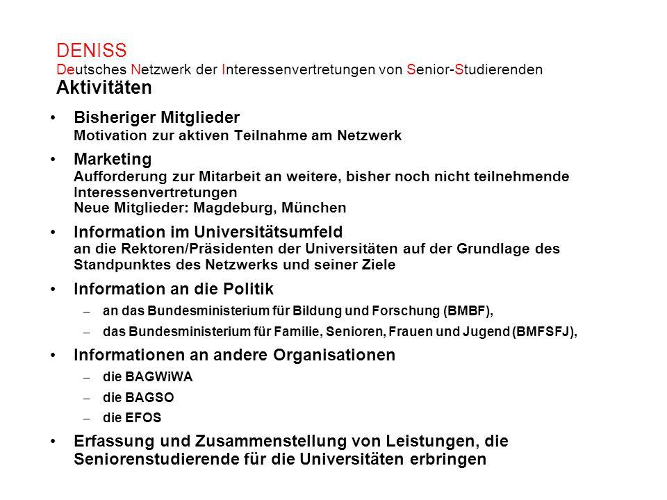DENISS Deutsches Netzwerk der Interessenvertretungen von Senior-Studierenden Aktivitäten Bisheriger Mitglieder Motivation zur aktiven Teilnahme am Net