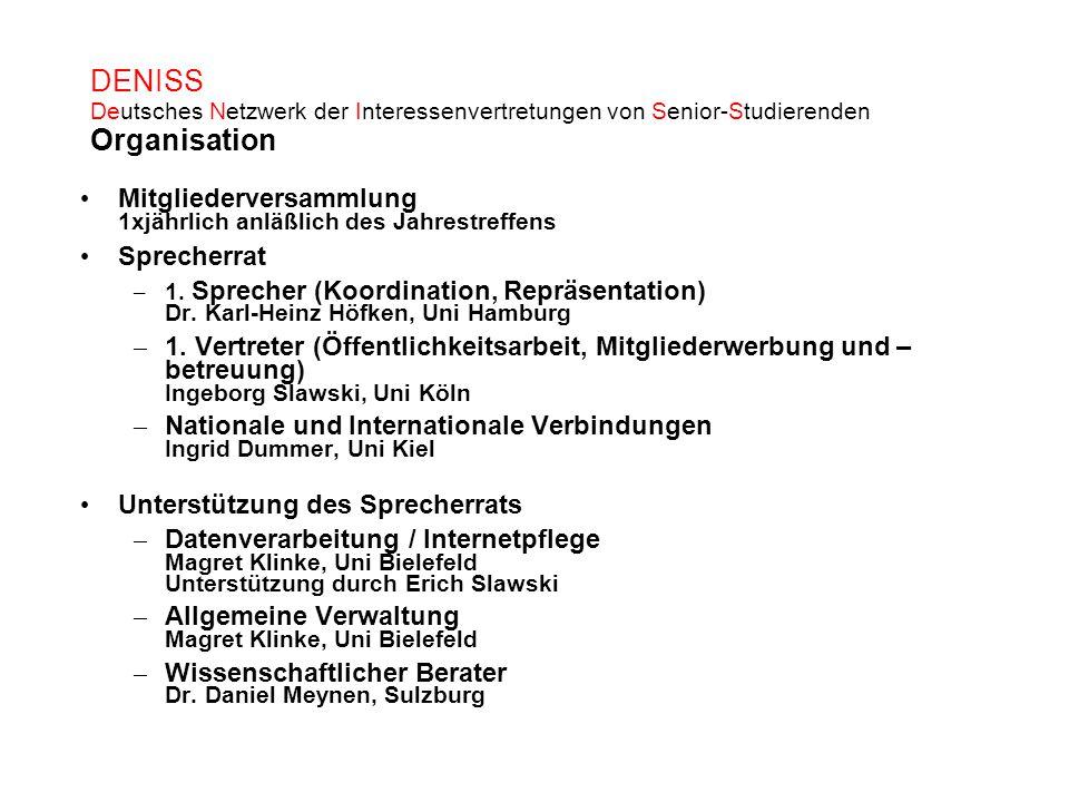 DENISS Deutsches Netzwerk der Interessenvertretungen von Senior-Studierenden Organisation Mitgliederversammlung 1xjährlich anläßlich des Jahrestreffen
