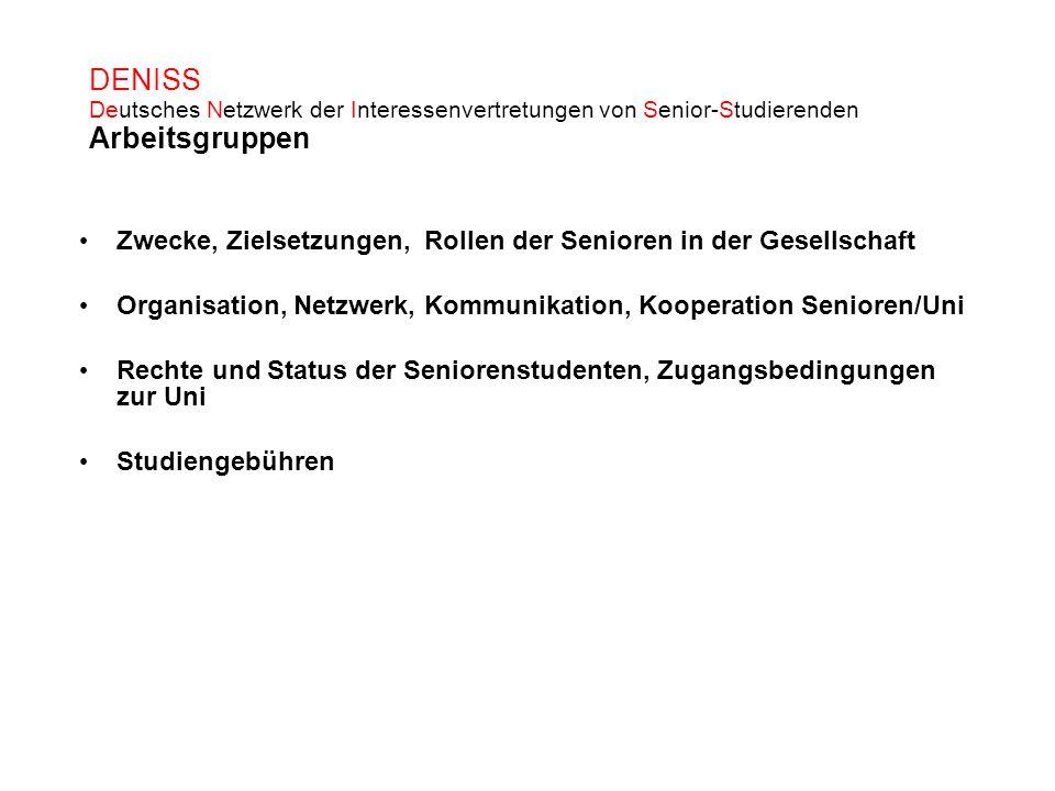 DENISS Deutsches Netzwerk der Interessenvertretungen von Senior-Studierenden Arbeitsgruppen Zwecke, Zielsetzungen, Rollen der Senioren in der Gesellsc