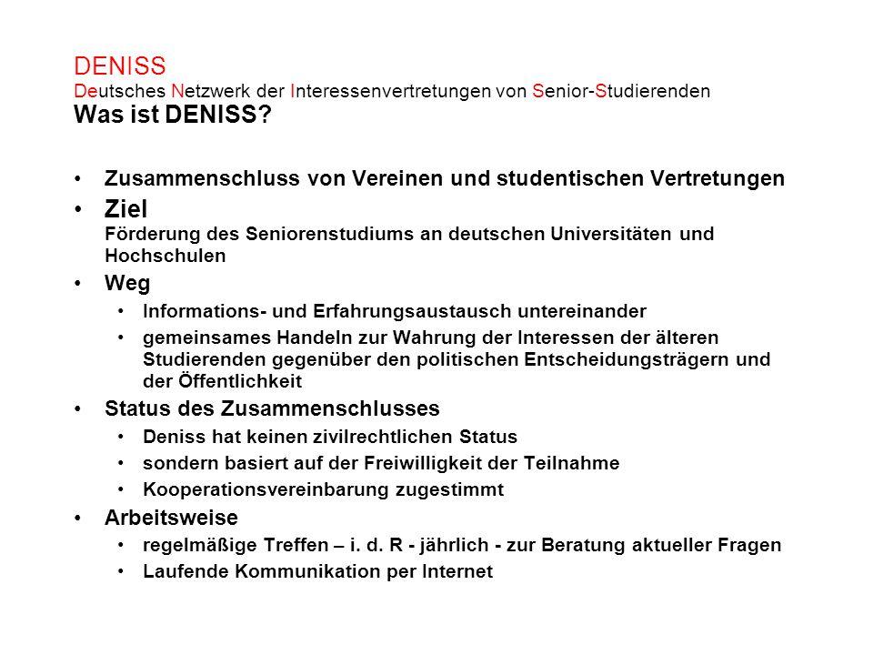 DENISS Deutsches Netzwerk der Interessenvertretungen von Senior-Studierenden Was ist DENISS? Zusammenschluss von Vereinen und studentischen Vertretung