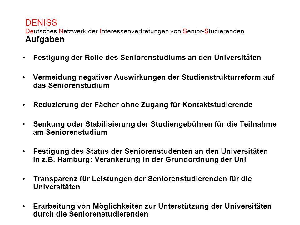 DENISS Deutsches Netzwerk der Interessenvertretungen von Senior-Studierenden Aufgaben Festigung der Rolle des Seniorenstudiums an den Universitäten Ve