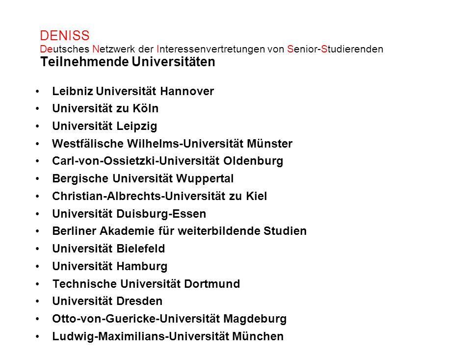 DENISS Deutsches Netzwerk der Interessenvertretungen von Senior-Studierenden Teilnehmende Universitäten Leibniz Universität Hannover Universität zu Kö