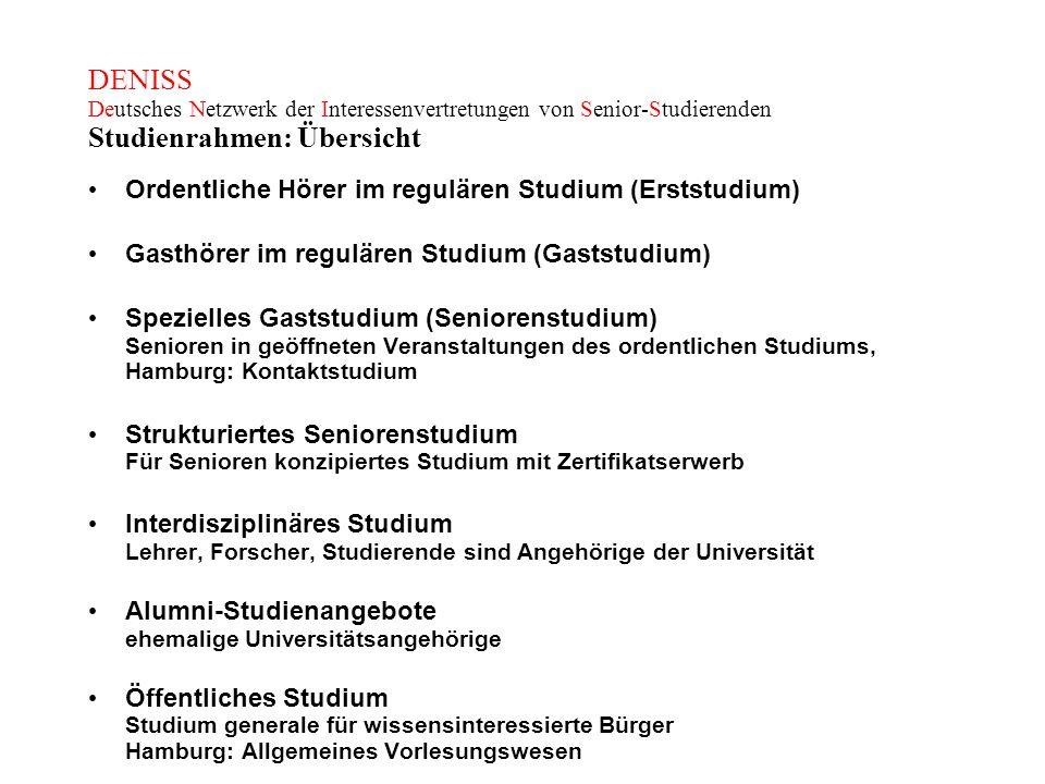 DENISS Deutsches Netzwerk der Interessenvertretungen von Senior-Studierenden Studienrahmen: Übersicht Ordentliche Hörer im regulären Studium (Erststud