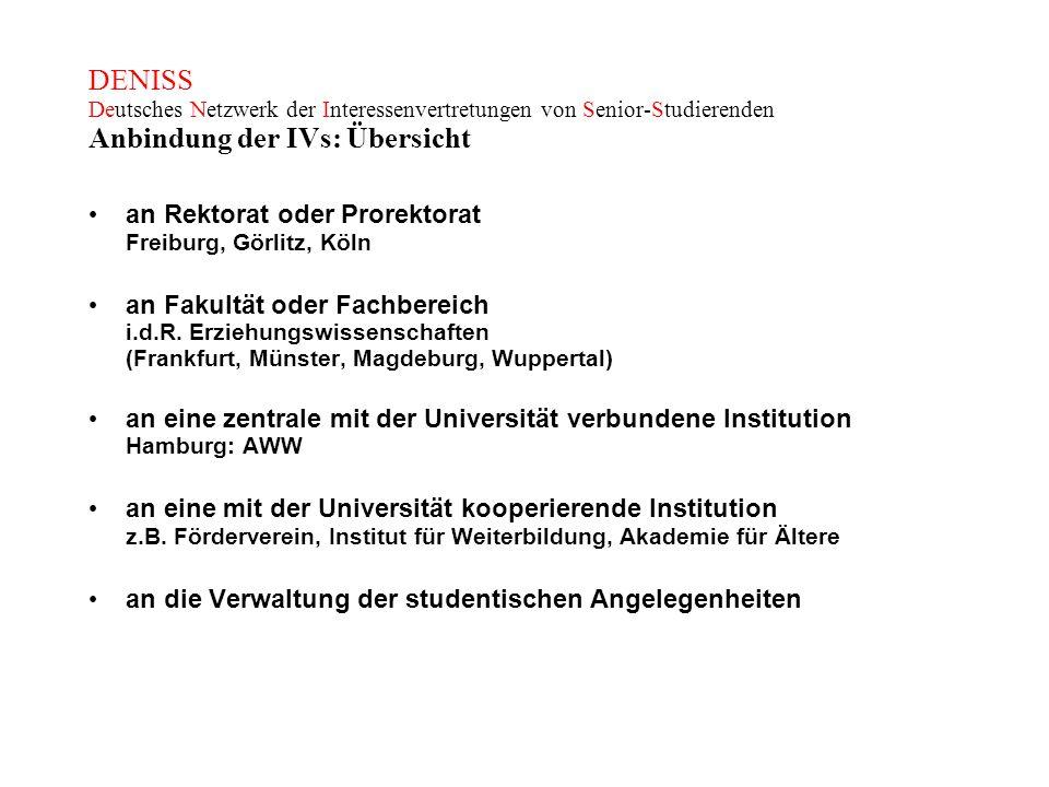 DENISS Deutsches Netzwerk der Interessenvertretungen von Senior-Studierenden Anbindung der IVs: Übersicht an Rektorat oder Prorektorat Freiburg, Görli