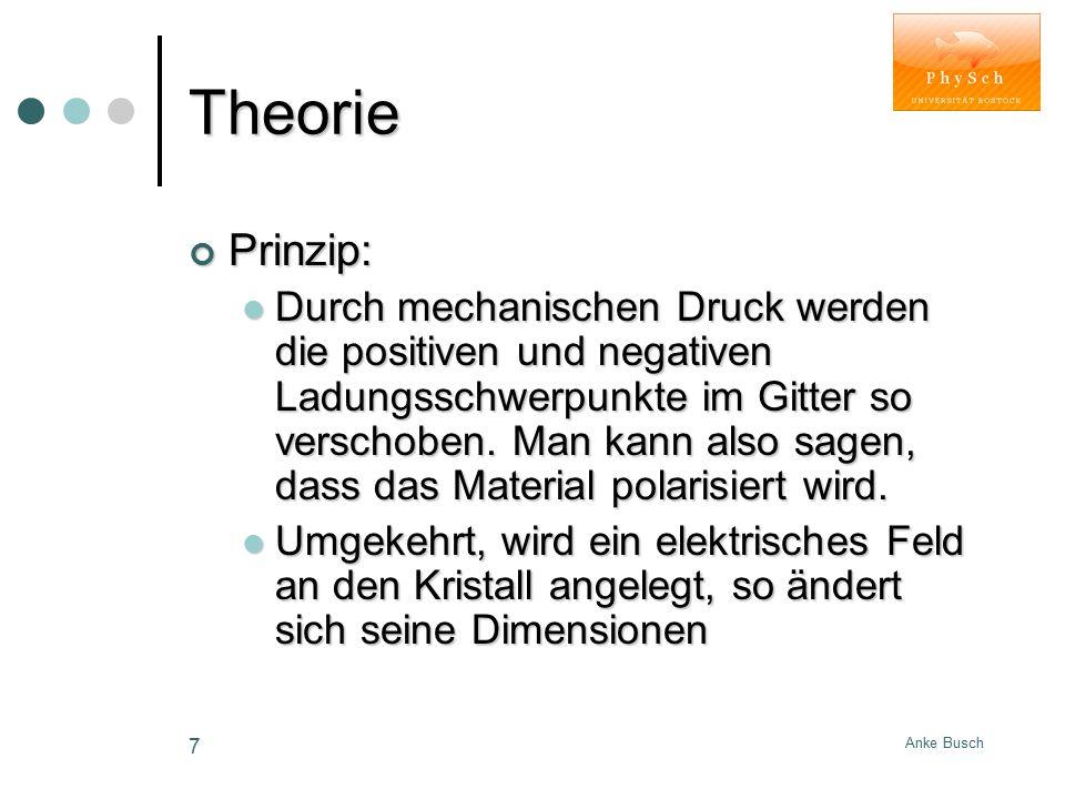 Anke Busch 7 Theorie Prinzip: Durch mechanischen Druck werden die positiven und negativen Ladungsschwerpunkte im Gitter so verschoben. Man kann also s