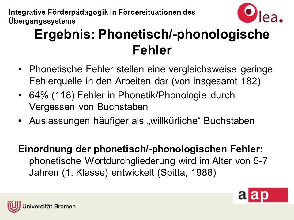Integrative Förderpädagogik in Fördersituationen des Übergangssystems Ergebnis: Phonetisch/-phonologische Fehler Phonetische Fehler stellen eine vergl