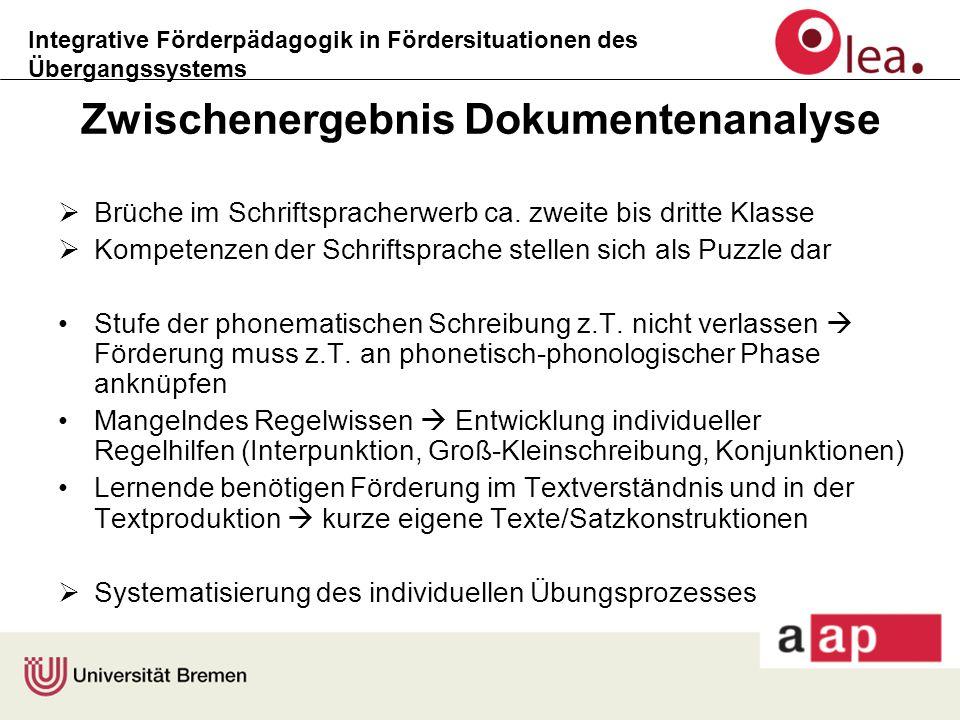 Integrative Förderpädagogik in Fördersituationen des Übergangssystems Zwischenergebnis Dokumentenanalyse  Brüche im Schriftspracherwerb ca. zweite bi