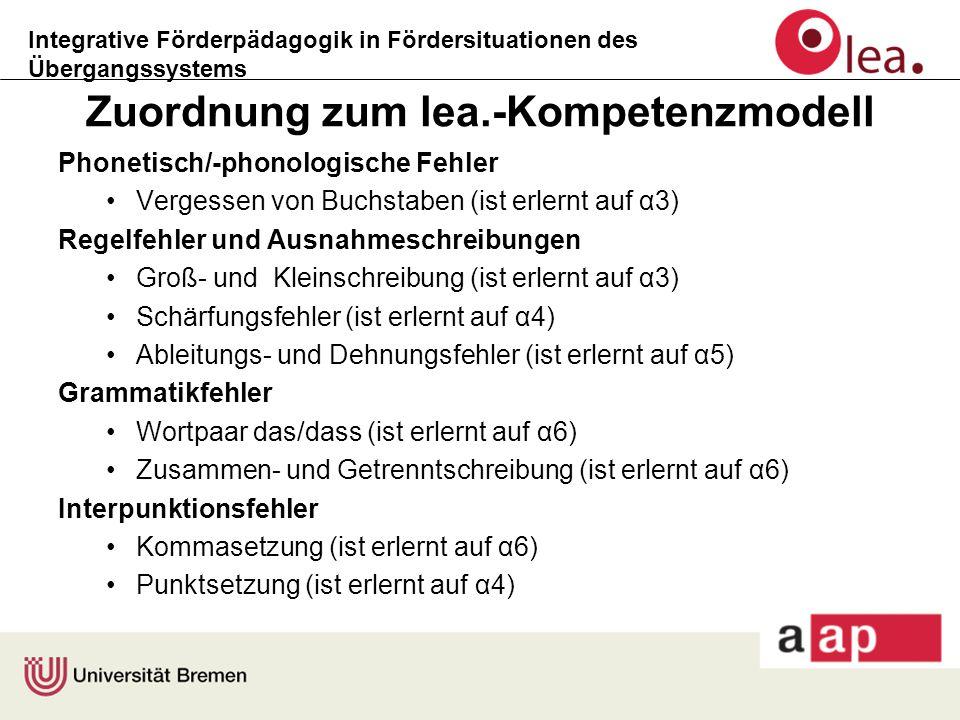 Integrative Förderpädagogik in Fördersituationen des Übergangssystems Zuordnung zum lea.-Kompetenzmodell Phonetisch/-phonologische Fehler Vergessen vo