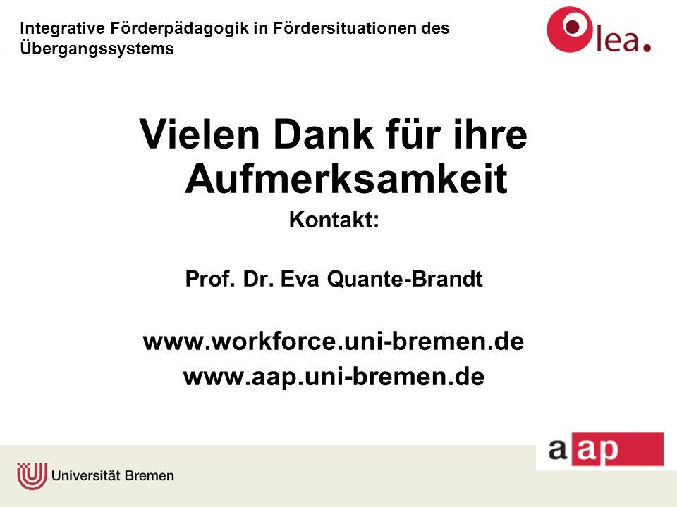 Integrative Förderpädagogik in Fördersituationen des Übergangssystems Vielen Dank für ihre Aufmerksamkeit Kontakt: Prof. Dr. Eva Quante-Brandt www.wor