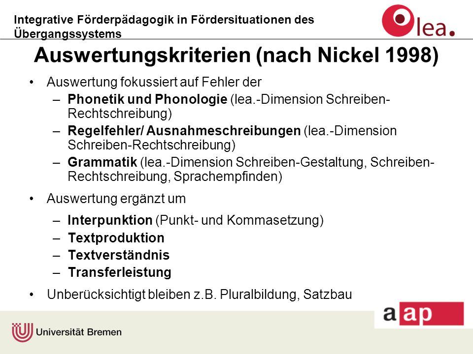 Integrative Förderpädagogik in Fördersituationen des Übergangssystems Auswertungskriterien (nach Nickel 1998) Auswertung fokussiert auf Fehler der –Ph