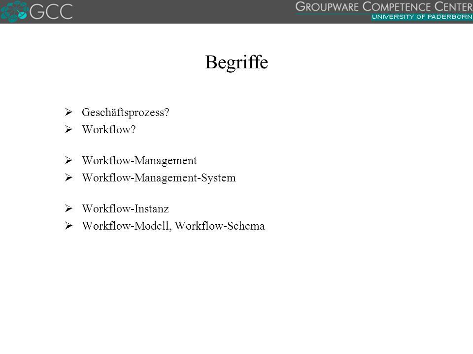Begriffe  Geschäftsprozess?  Workflow?  Workflow-Management  Workflow-Management-System  Workflow-Instanz  Workflow-Modell, Workflow-Schema
