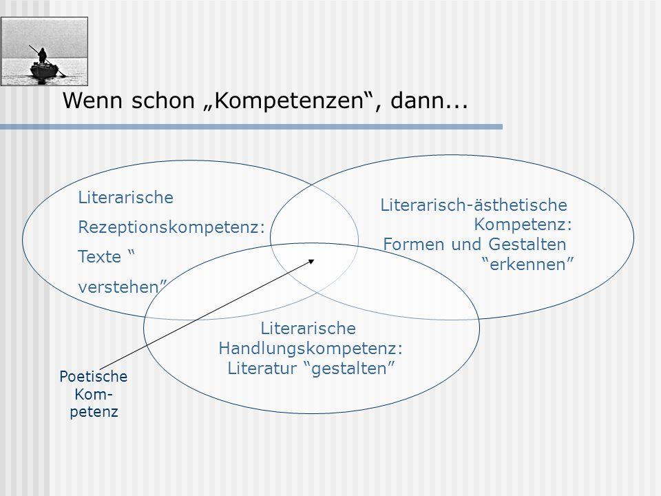 """Wenn schon """"Kompetenzen"""", dann... Literarische Rezeptionskompetenz: Texte """" verstehen"""" Literarisch-ästhetische Kompetenz: Formen und Gestalten """"erkenn"""