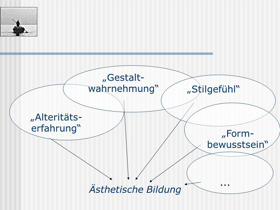 """Ästhetische Bildung """"Alteritäts- erfahrung""""... """"Form- bewusstsein"""" """"Stilgefühl"""" """"Gestalt- wahrnehmung"""""""