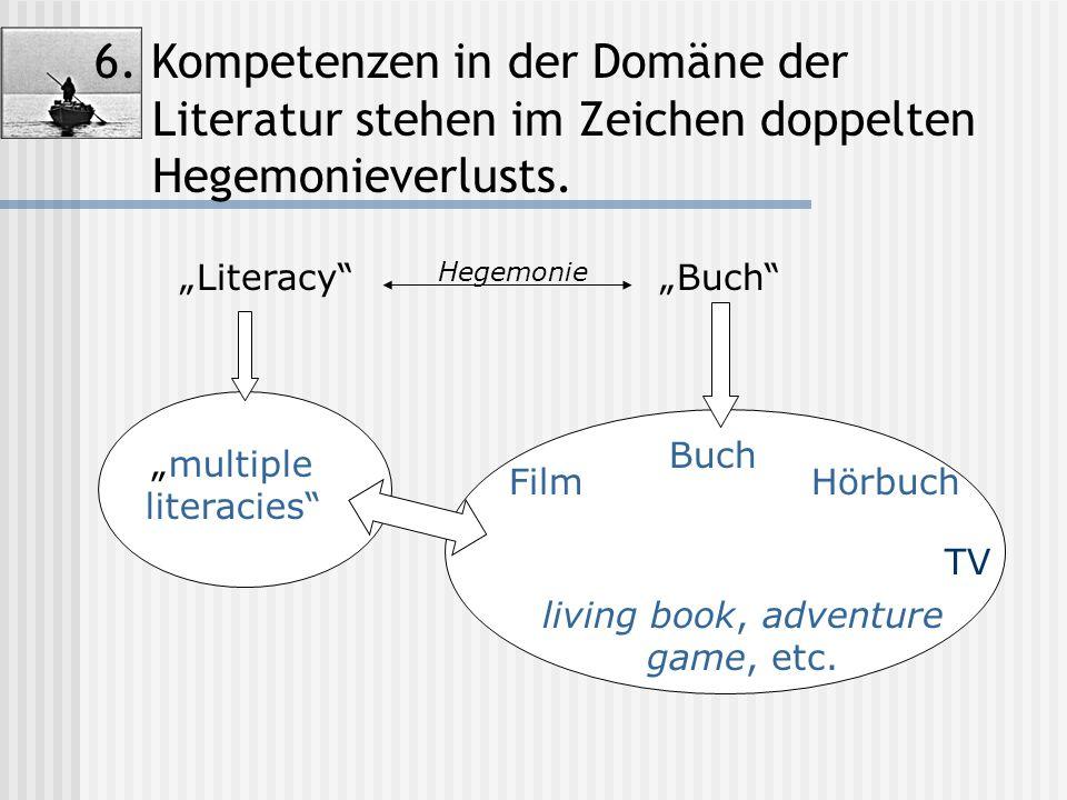 """6. Kompetenzen in der Domäne der Literatur stehen im Zeichen doppelten Hegemonieverlusts. """"Literacy""""""""Buch"""" """"multiple literacies"""" Film Buch TV living b"""