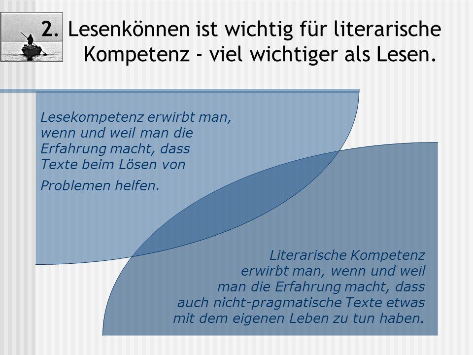 2. Lesenkönnen ist wichtig für literarische Kompetenz - viel wichtiger als Lesen. Literarische Kompetenz erwirbt man, wenn und weil man die Erfahrung