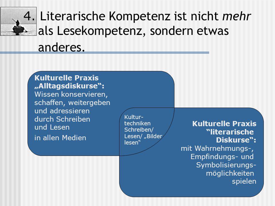 """4. Literarische Kompetenz ist nicht mehr als Lesekompetenz, sondern etwas anderes. Kulturelle Praxis """"Alltagsdiskurse"""": Wissen konservieren, schaffen,"""