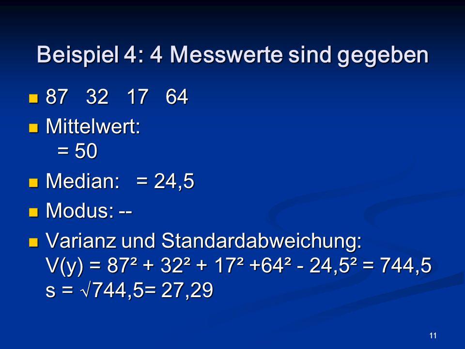 11 Beispiel 4: 4 Messwerte sind gegeben 87 32 17 64 87 32 17 64 Mittelwert: = 50 Mittelwert: = 50 Median: = 24,5 Median: = 24,5 Modus: -- Modus: -- Va