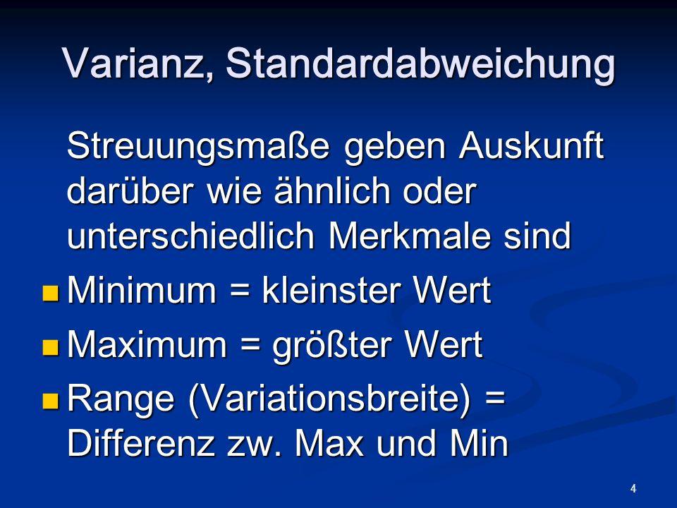 4 Varianz, Standardabweichung Streuungsmaße geben Auskunft darüber wie ähnlich oder unterschiedlich Merkmale sind Minimum = kleinster Wert Minimum = k