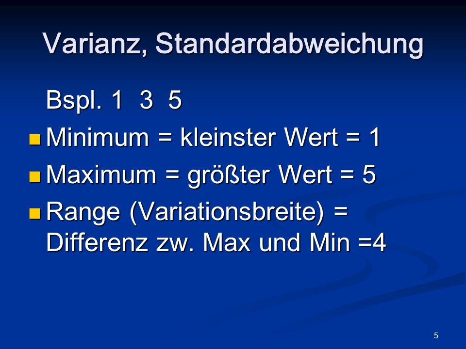 5 Varianz, Standardabweichung Bspl. 1 3 5 Minimum = kleinster Wert = 1 Minimum = kleinster Wert = 1 Maximum = größter Wert = 5 Maximum = größter Wert