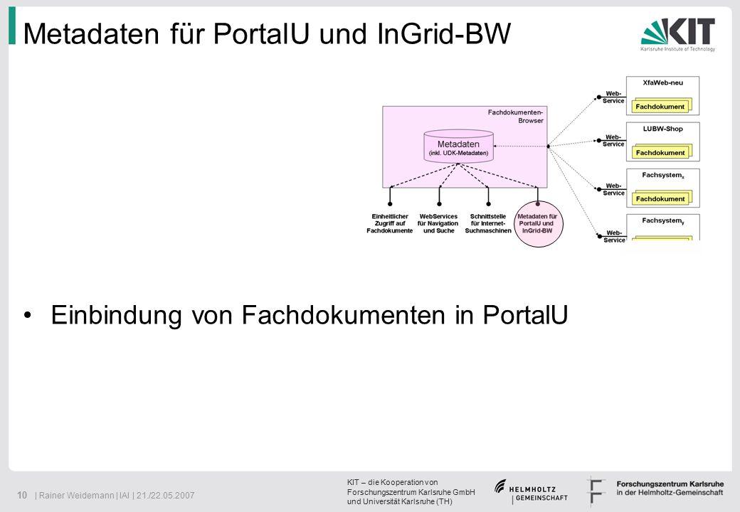 KIT – die Kooperation von Forschungszentrum Karlsruhe GmbH und Universität Karlsruhe (TH) 10 | Rainer Weidemann | IAI | 21./22.05.2007 Metadaten für PortalU und InGrid-BW Einbindung von Fachdokumenten in PortalU