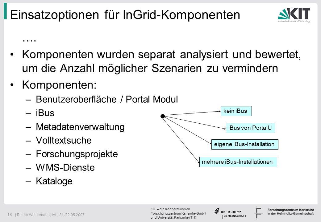 KIT – die Kooperation von Forschungszentrum Karlsruhe GmbH und Universität Karlsruhe (TH) 16 | Rainer Weidemann | IAI | 21./22.05.2007 ….